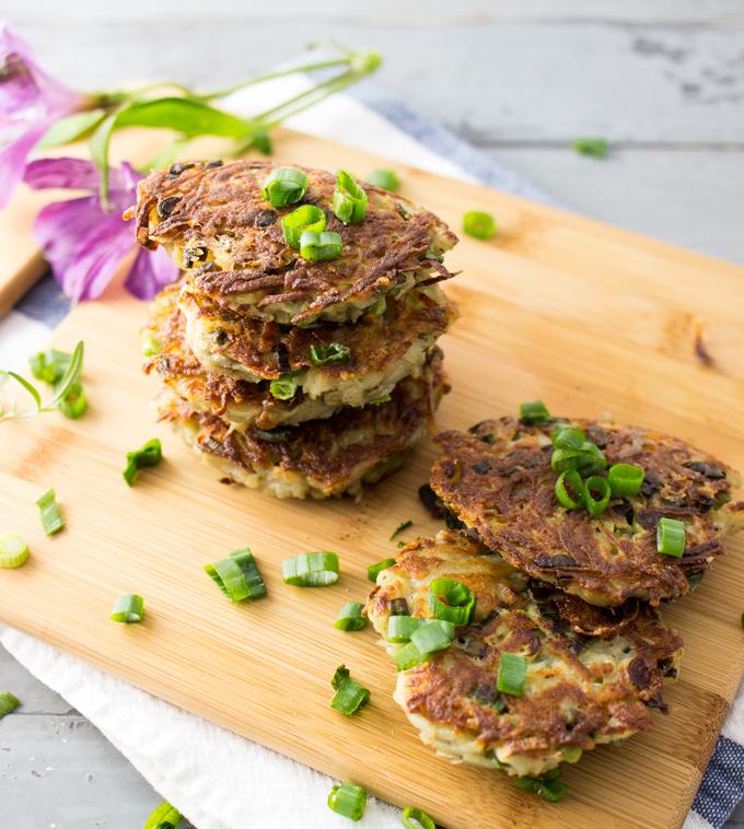 Rosemary garlic latkes with crunchy scallions