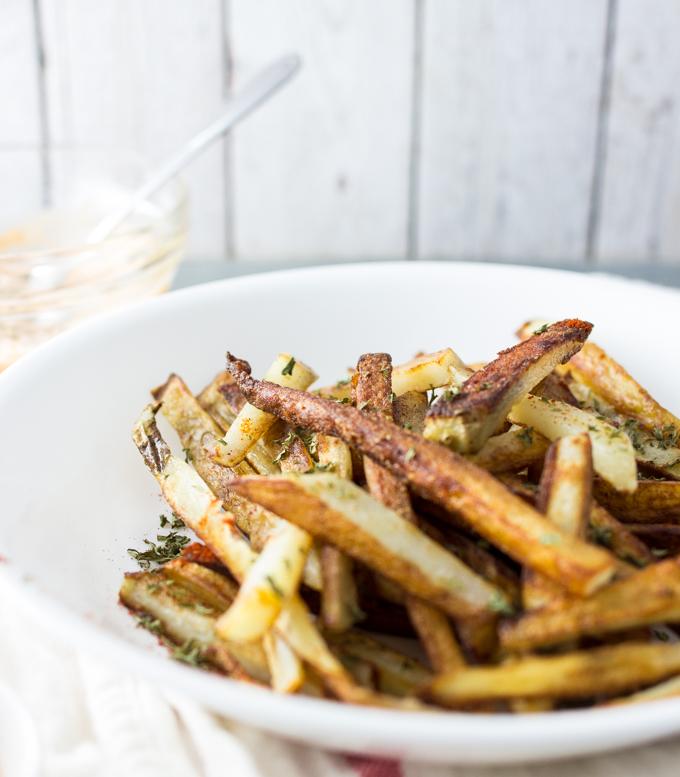 Homemade french fries with garlic sriracha mayo