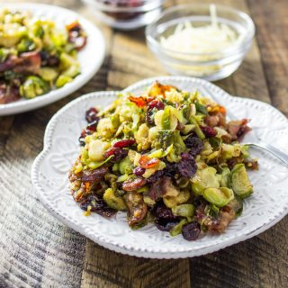 Holiday brussels sprouts with bacon and cranberries