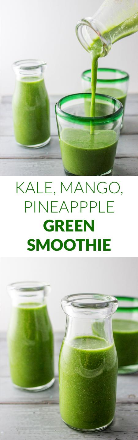 Kale green smoothie | mango pineapple | healthy smoothie recipe | easy smoothie | fruit smoothie | breakfast smoothie | how to make smoothie | vegan | strawberry