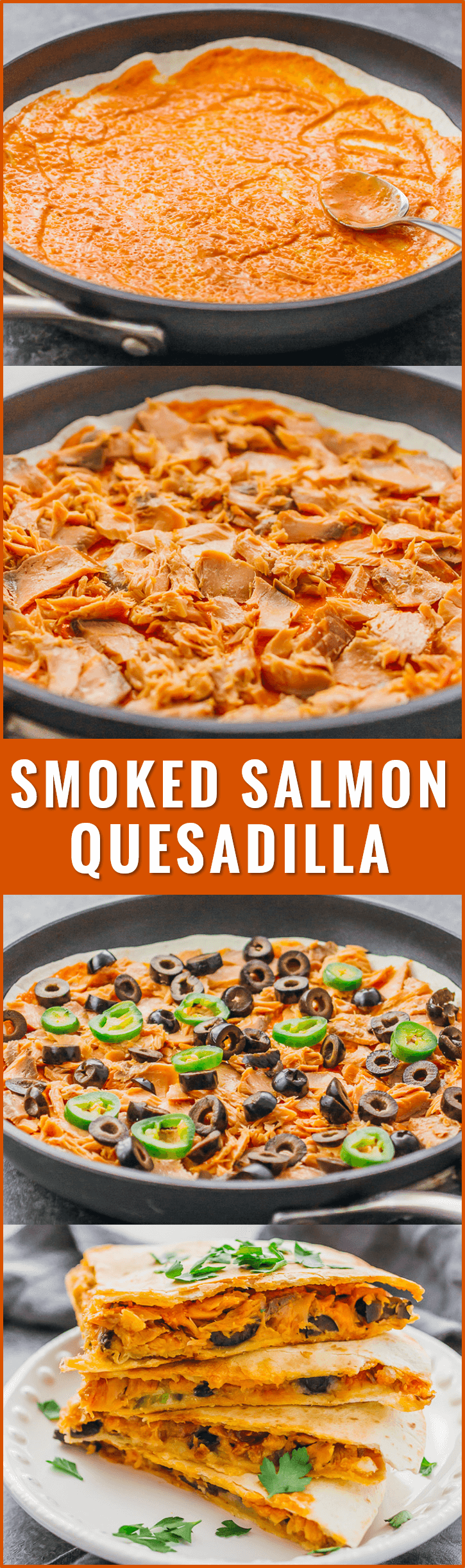Calling all spicy food lovers: this quesadilla is filled with smoked salmon, black olives, jalapeños, pepper jack cheese, and a garlic-sriracha mayo sauce. recipes, healthy, avocado, canned, fish tacos, black beans, cream cheese, dinners, sauces, gluten free