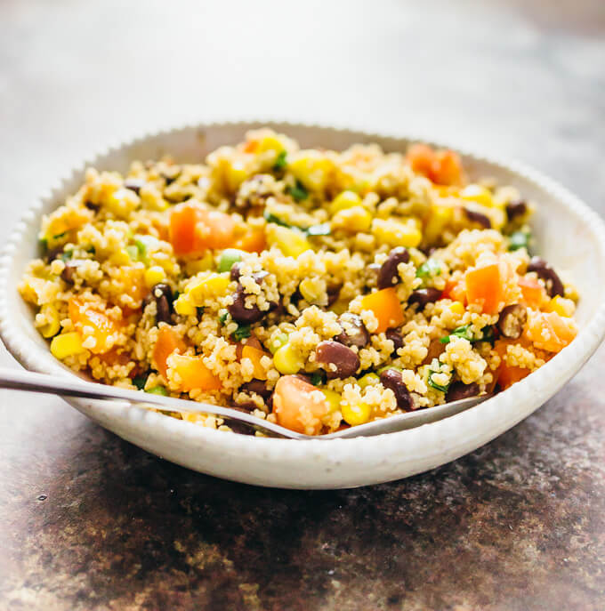 southwest couscous salad served in bowl