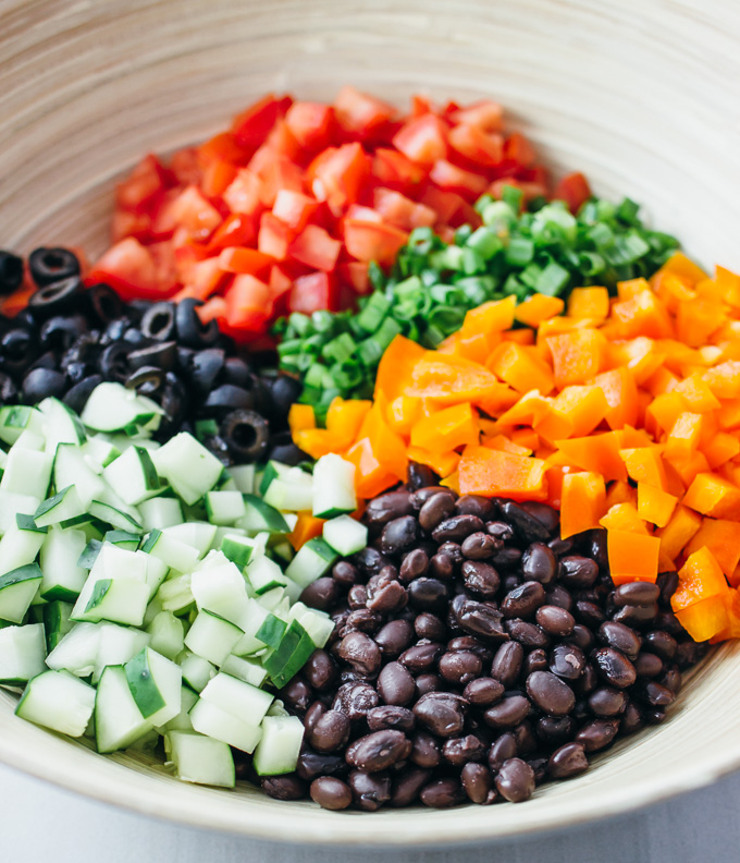 Easy spicy sweet black bean salad