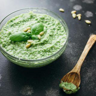 Homemade broccoli pesto with jalapeño