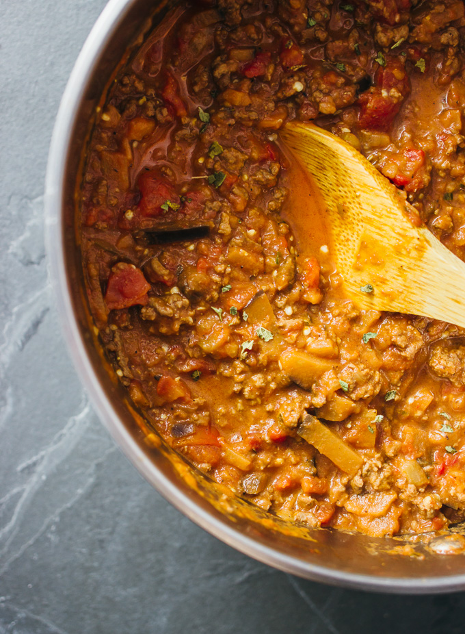 Simple hearty rigatoni bolognese with eggplant