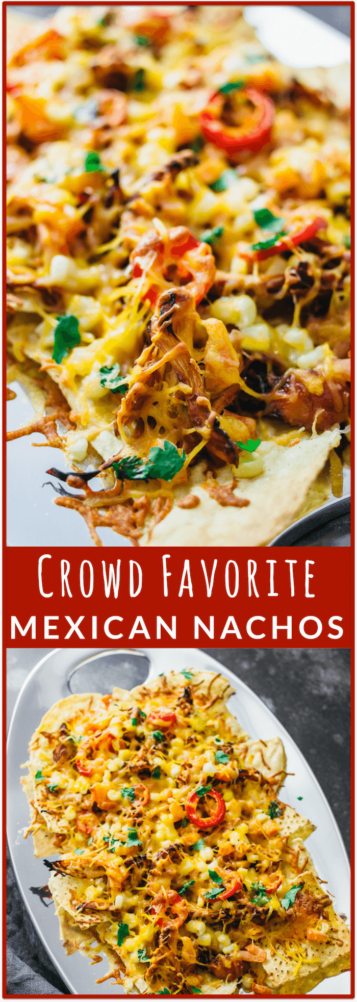 Loaded Mexican nachos with chicken - These LOADED Mexican nachos are super savory and hearty with shredded chicken, diced tomatoes, a splash of corn, sliced jalapeño, and plenty of shredded cheese. This is the perfect recipe for making baked nachos that are a crowd favorite. - savorytooth.com