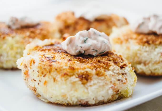 Smoked salmon potato cakes
