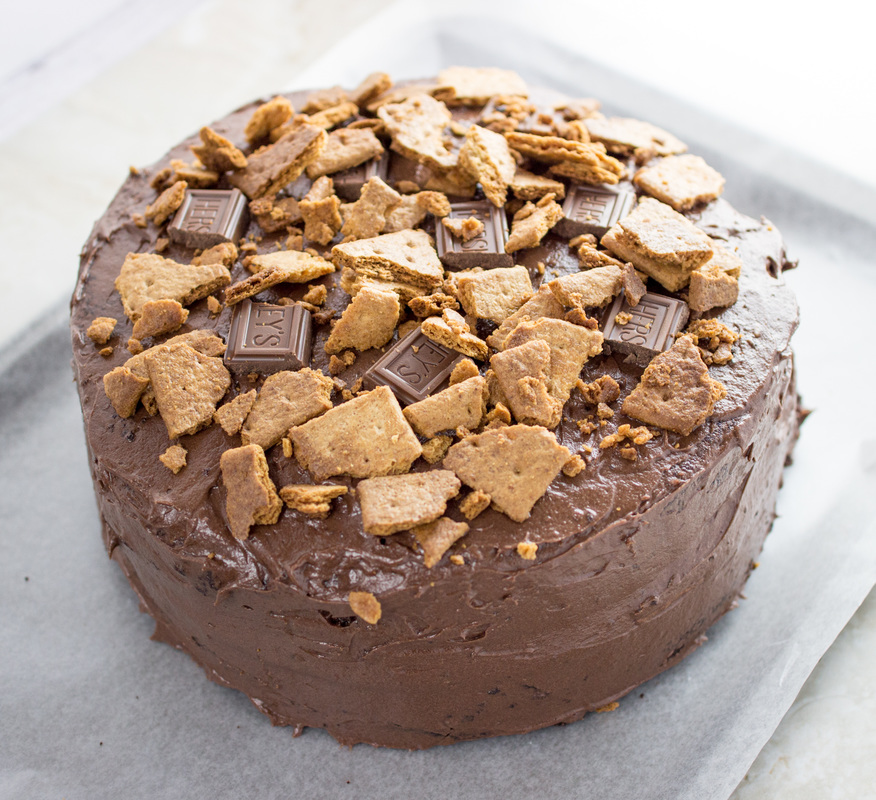 Milk chocolate frosted graham cracker cake