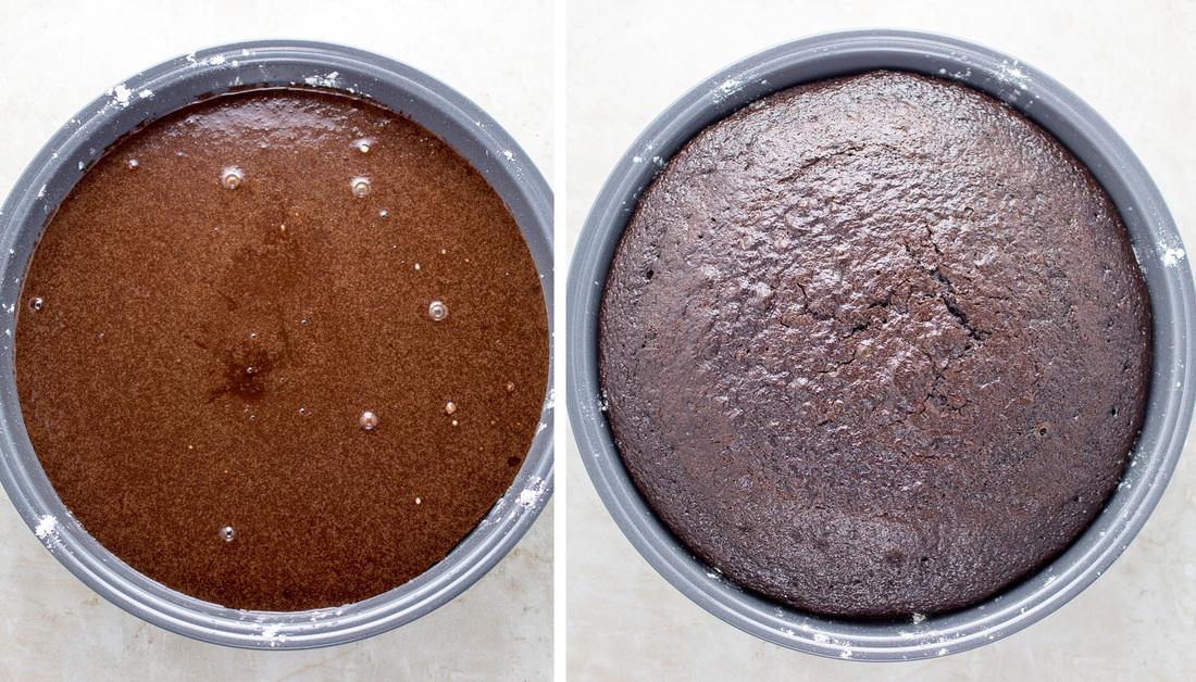 Unbaked cake to baked cake