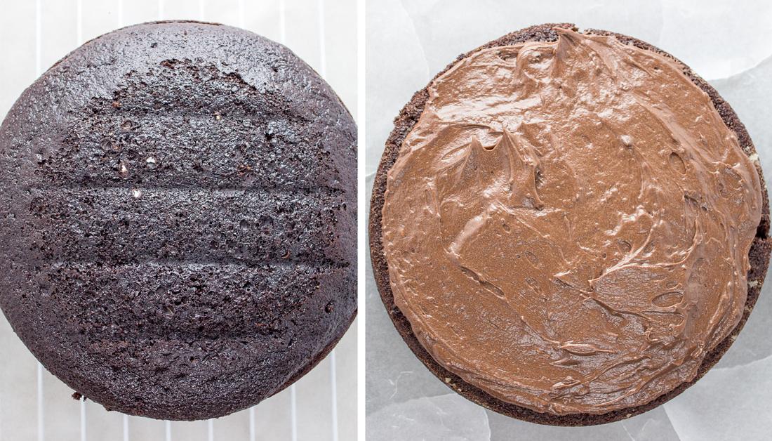 Bottom layer of cake