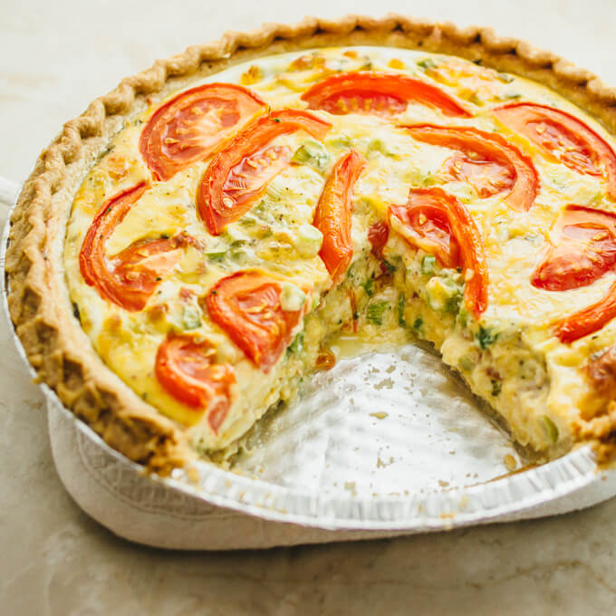 Crazy good quiche with bacon, broccoli, and tomatoes