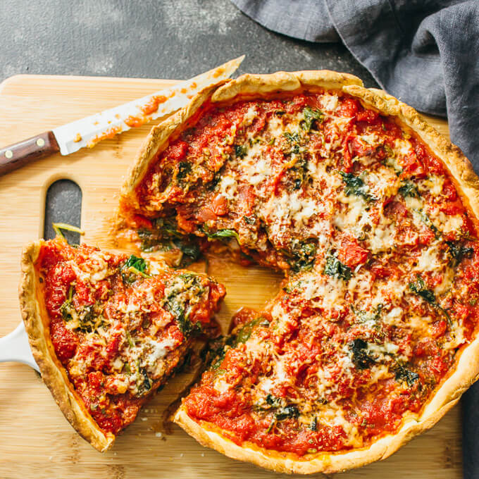 Chicago Deep Dish Pizza With Spinach Savory Tooth