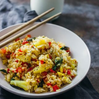 Thai fried rice with basil and pineapple