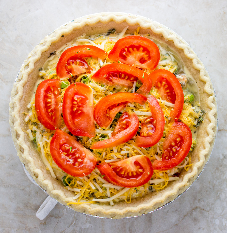 Crazy good quiche with bacon, broccoli, and tomato | savorytooth.com