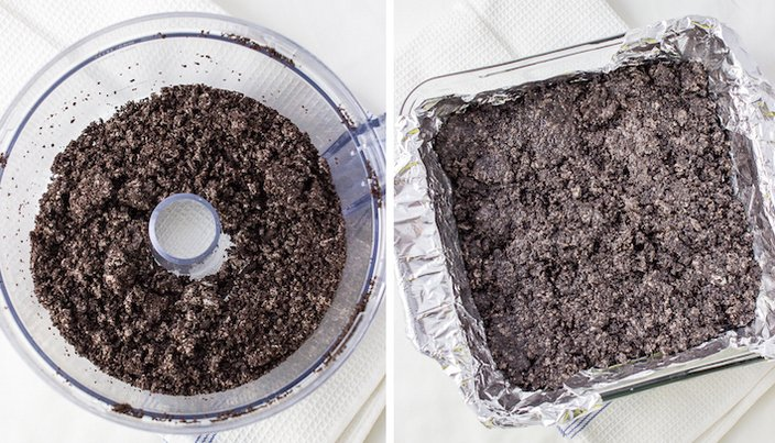 Crushing oreos in a food processor to make a bottom oreo crust