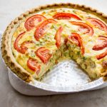 Crazy good quiche with bacon, broccoli, and tomato