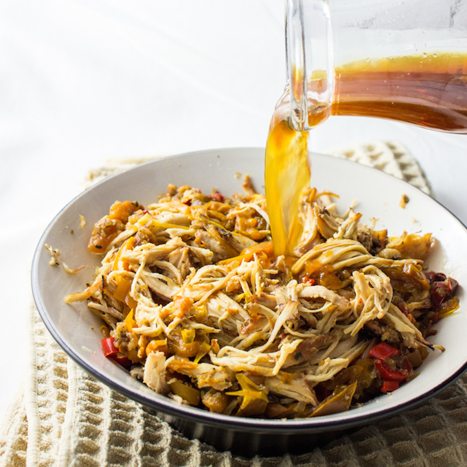 Slow cooker shredded chicken carnitas - Savory Tooth