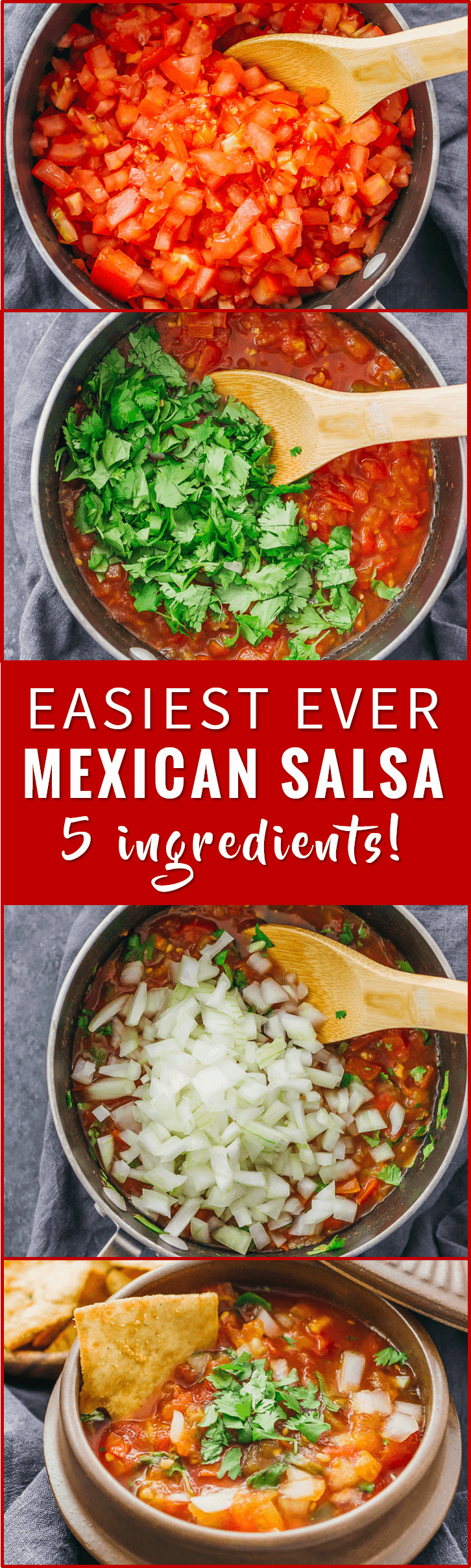 Mexican salsa doesn't get easier than this: you only need 5 ingredients to make this fresh, chunky, and spicy tomato salsa recipe. homemade, canning, fruit, fresh, restaurant, easy, roja, chilis, pico de gallo, pico de galo, spicy, chunky, dip, mexicanas, authentic, tomatoes, chipotle, best, red, hot, home made, bar, rezepte, freezer, mild, fresca, garden, healthy, sauce