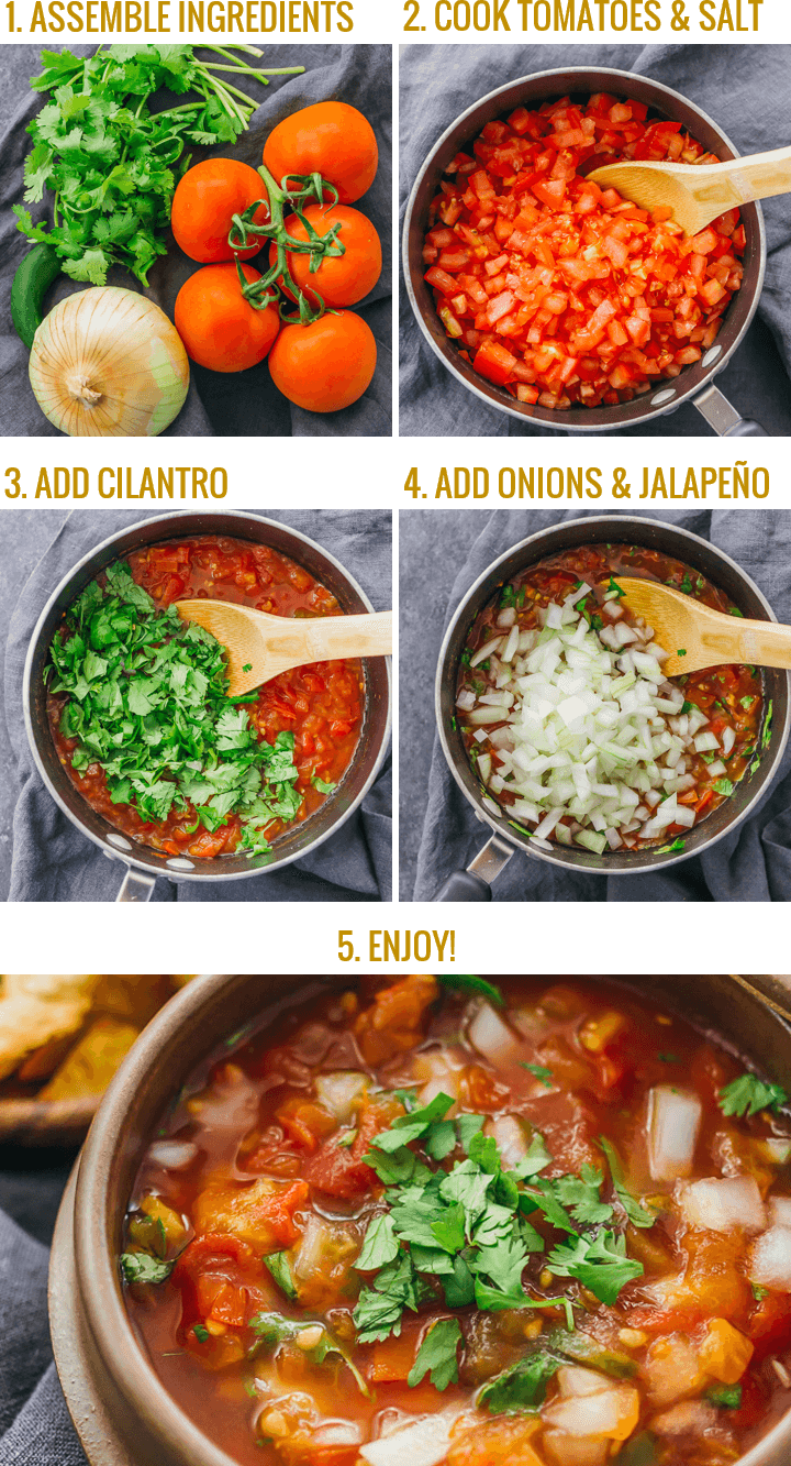 Step by step collage showing how to make authentic mexican salsa from scratch