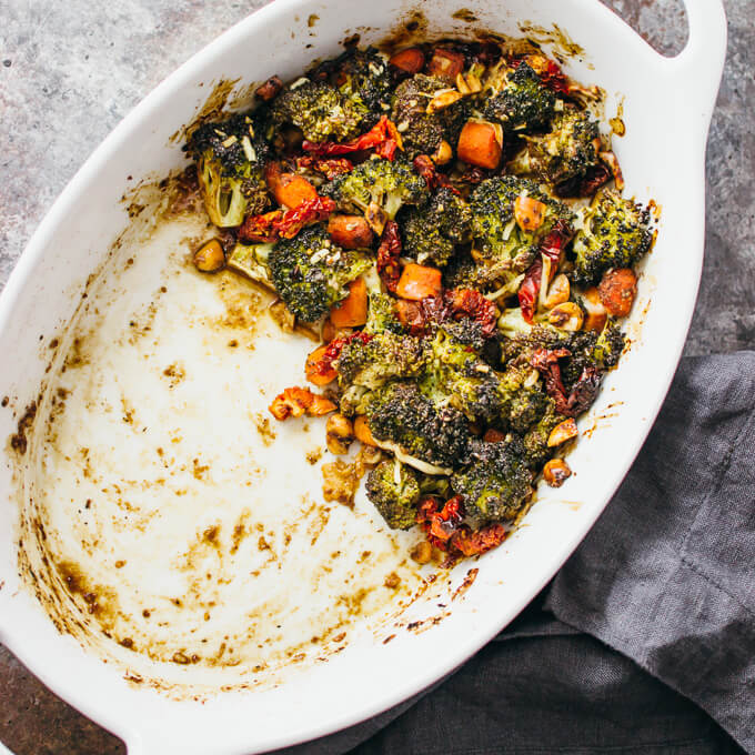 Roasted broccoli salad with garlic