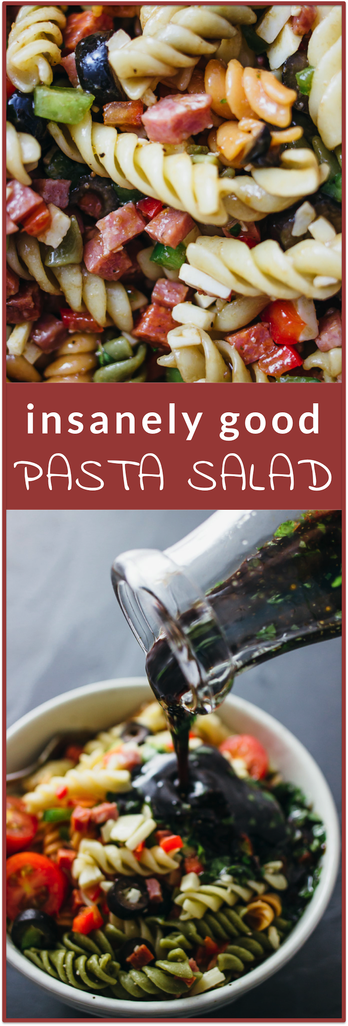 insanely good pasta salad recipe | easy appetizer side dish recipe | balsamic vinegar dressing, pasta salad with italian dressing, healthy, tortellini, creamy, easy, greek, ranch, cold, summer, blt, caprese, pasta salad recipes