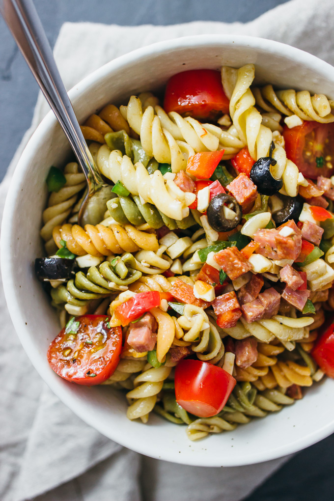overhead view of pasta salad with italian dressing