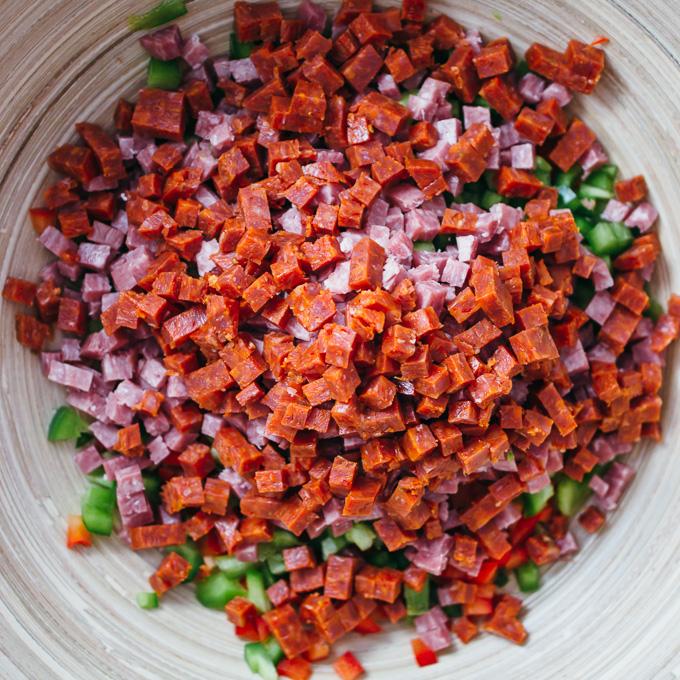salami and pepperoni in salad bowl