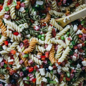Best easy pasta salad recipe with classic ingredients tossed together with cold Italian dressing