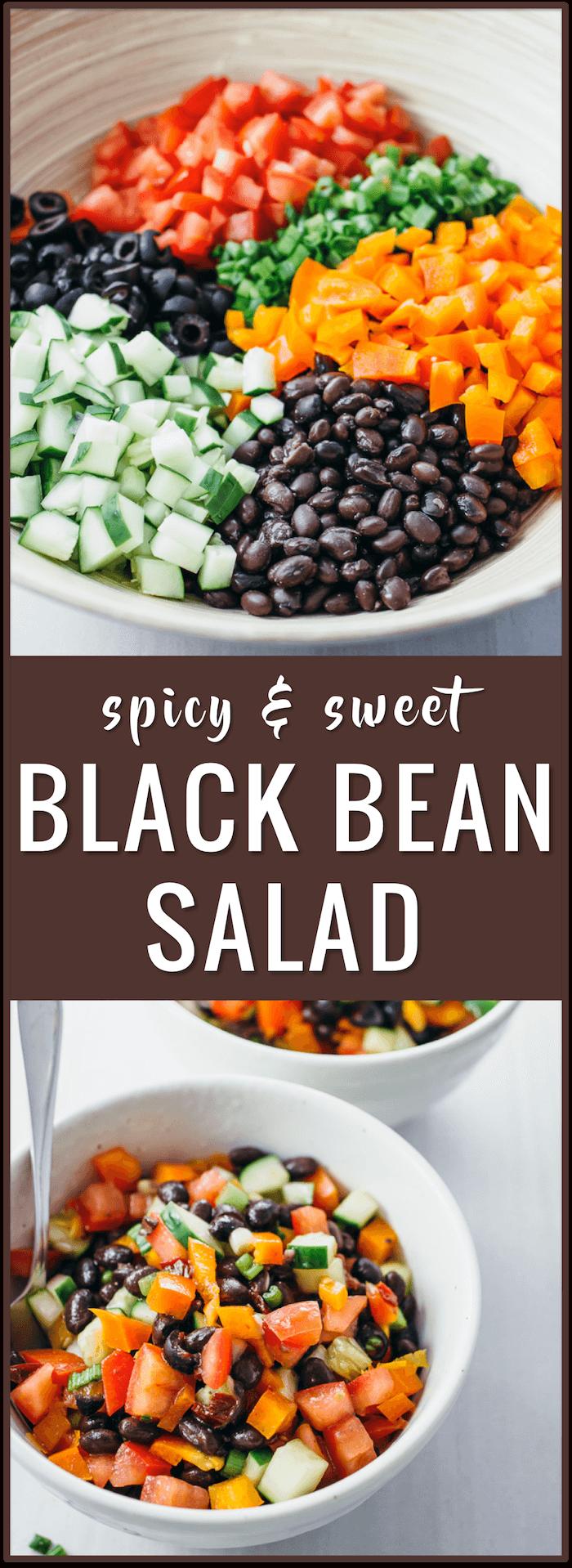 easy salad recipe, spicy sweet black bean salad, chipotle adobo sauce, honey, scallions, tomatoes