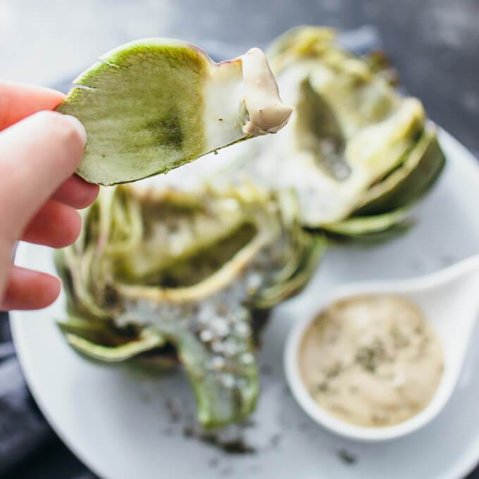 Demonstrating how to eat an artichoke by pulling a leaf and dipping in an artichoke dipping sauce
