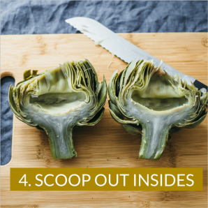 Photo shows how to eat artichokes by scooping out insides