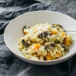 butternut squash risotto topped with asiago cheese