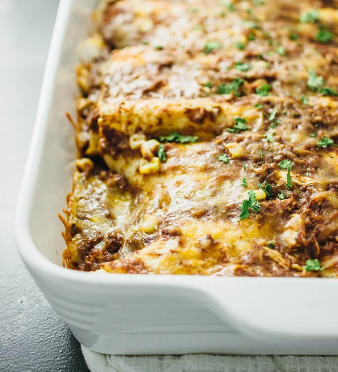 Chicken enchiladas with easy mole sauce