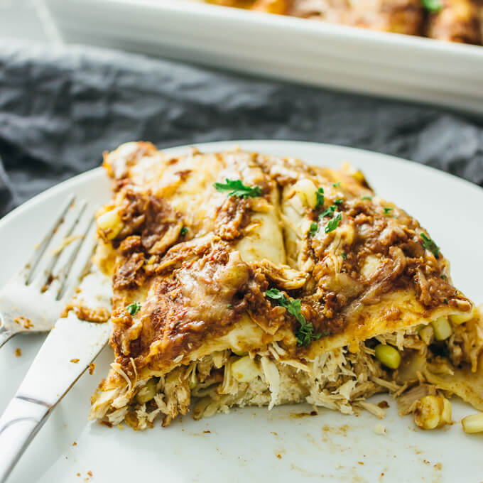 Chicken enchiladas with easy mole sauce
