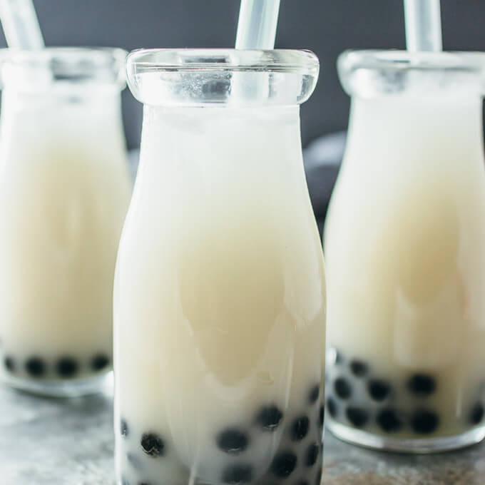 milk tea bubble tea flavored with coconut in 3 glasses