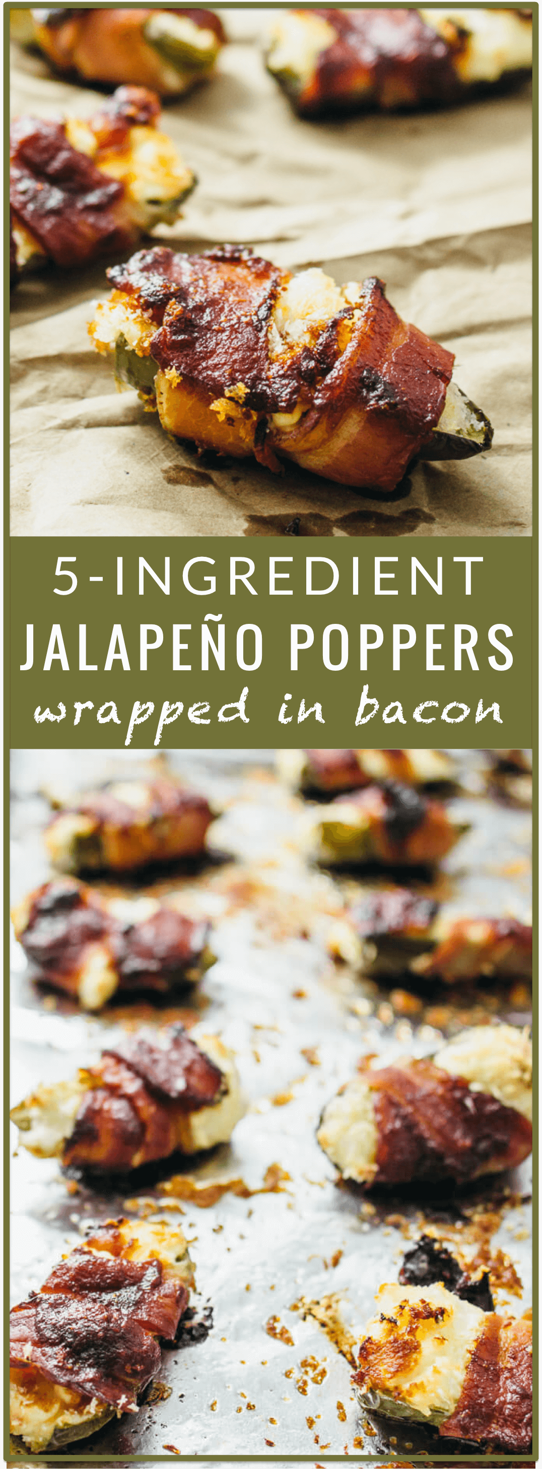 Baked jalapeño poppers wrapped in bacon - You'll love these tasty baked jalapeño poppers! They are stuffed with cream cheese, wrapped in bacon, and brushed with BBQ sauce. It's an easy recipe with only 5 ingredients. - savorytooth.com