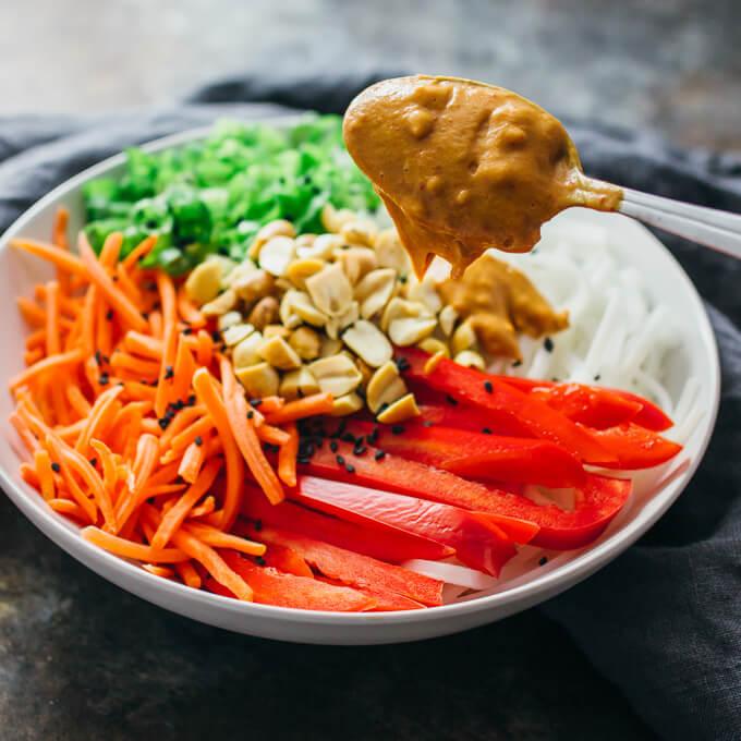 Cold peanut noodle salad