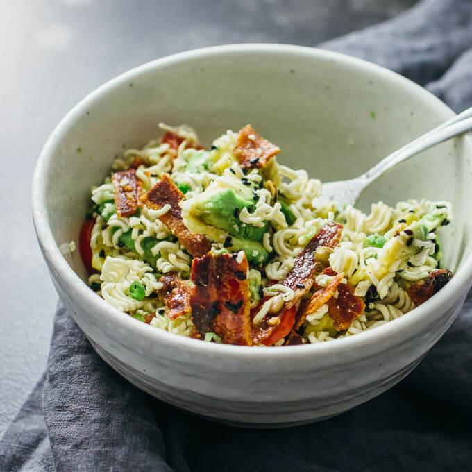 Ramen salad with bacon and avocado