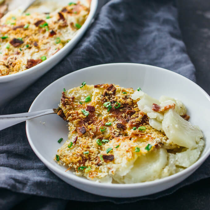 Scalloped potatoes au gratin with bacon