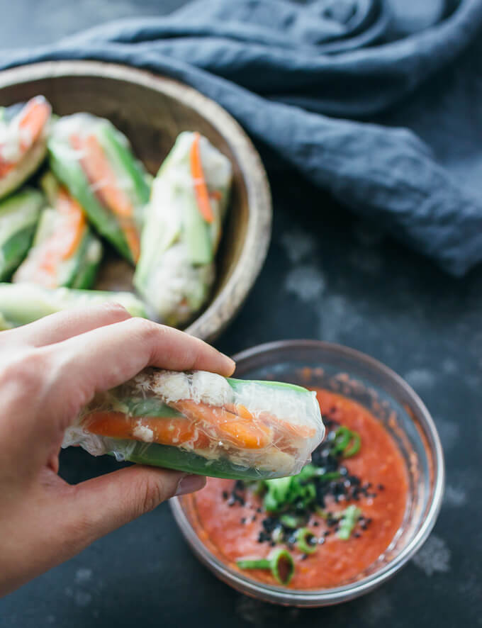 Crab and avocado summer rolls