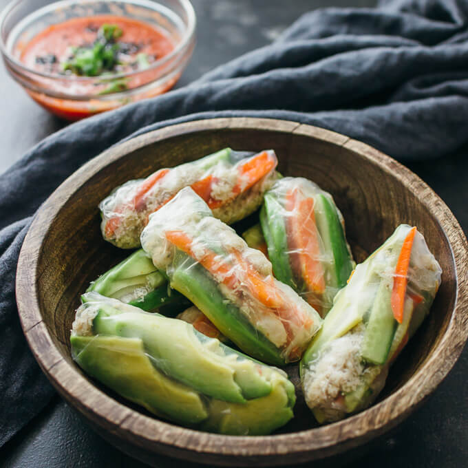 Crab and avocado summer rolls