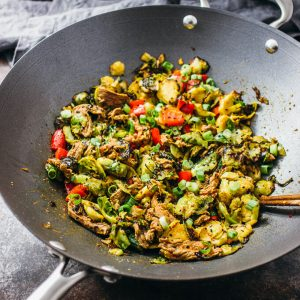 Chile-ginger brussels sprouts and beef