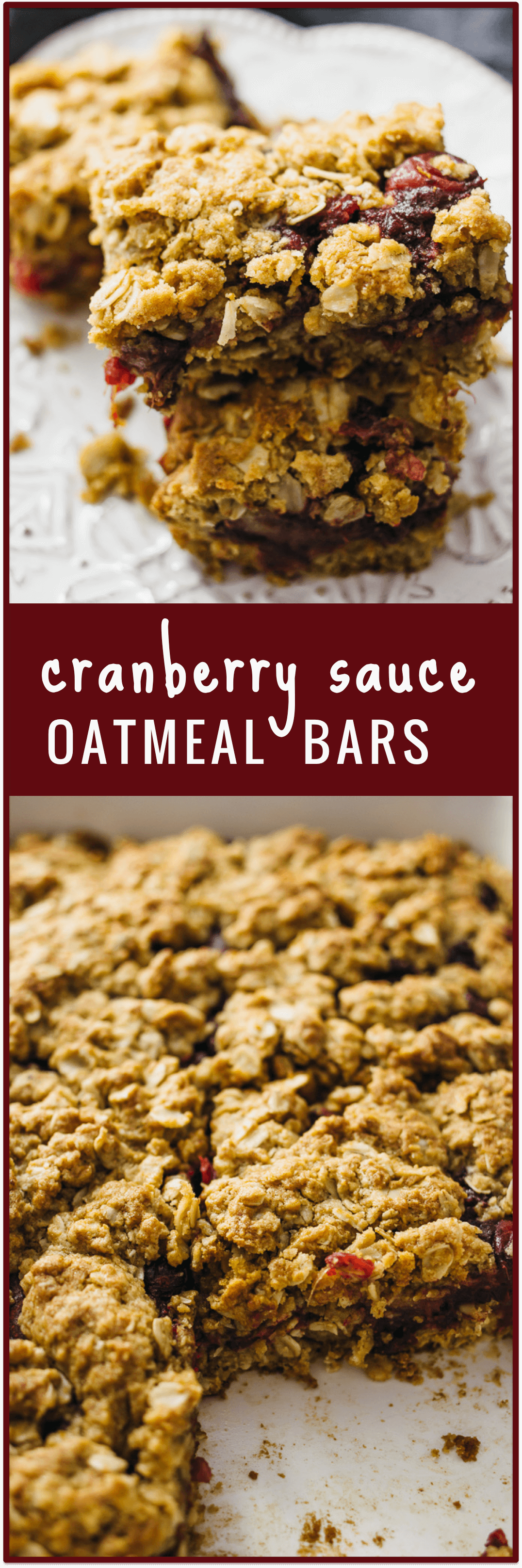 Cranberry sauce oatmeal bars - Got some leftover cranberry sauce from Thanksgiving? This recipe shows you how to use it up to make these amazing cranberry sauce oatmeal bars with brown sugar that are great for breakfast or dessert! - savorytooth.com