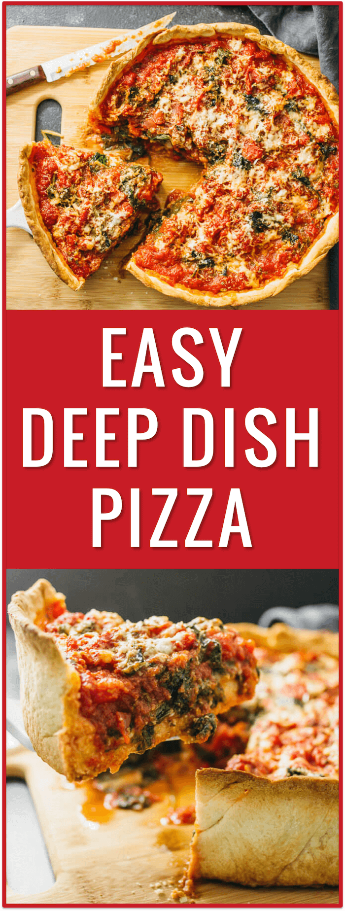 Chicago deep dish pizza with spinach - Don't live in Chicago but craving deep dish pizza? No problem! In this recipe, I'll show you how to make homemade Chicago deep dish pizza with spinach from scratch! The dough is easy to prepare and the filling can be of your own choosing. - savorytooth.com