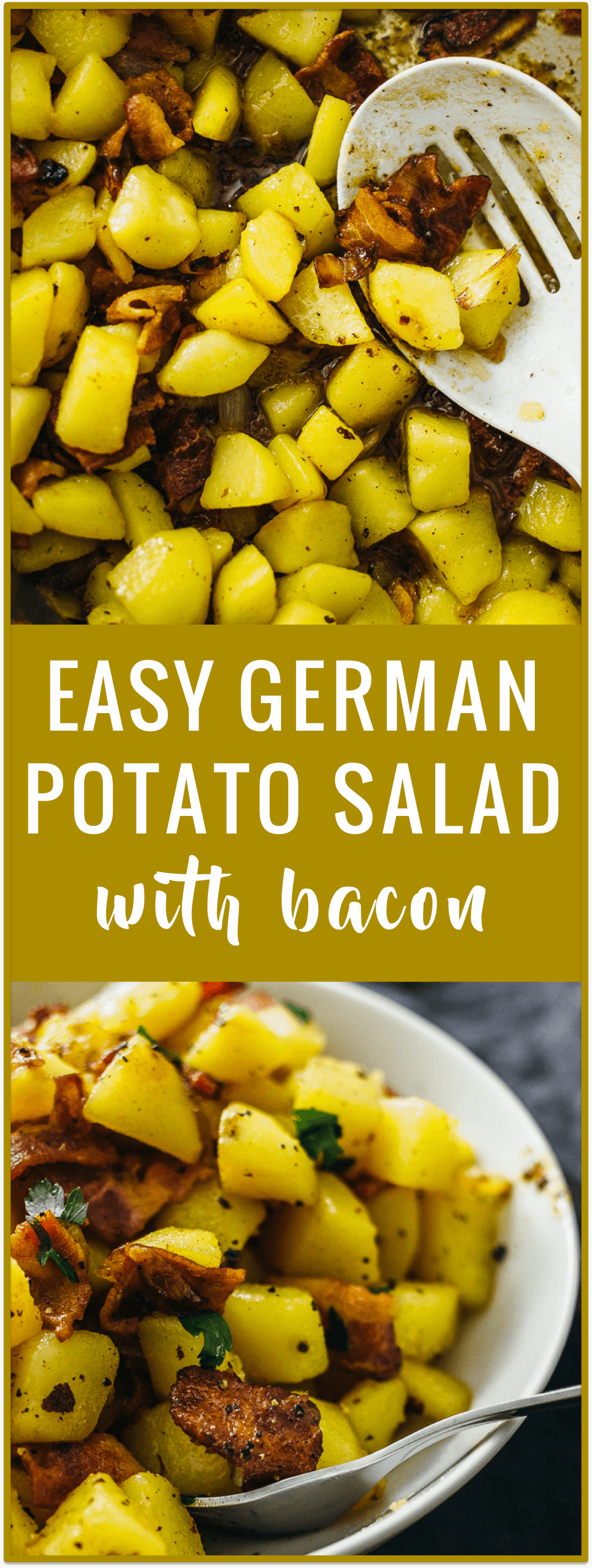 German potato salad with bacon - German potato salad is served warm and not cold, and includes crispy bacon and vinegar. It's an easy and authentic recipe that originates from southern Germany.