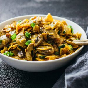 Spicy thai noodles with mushrooms
