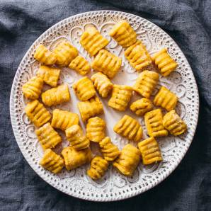 Vegan 2 ingredient sweet potato gnocchi on a white plate