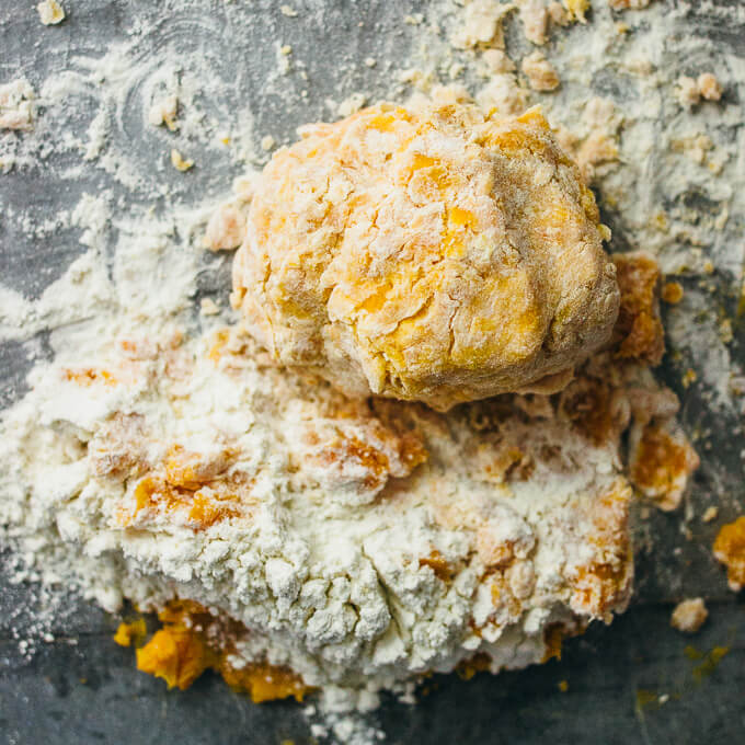 forming a dough from sweet potatoes and flour