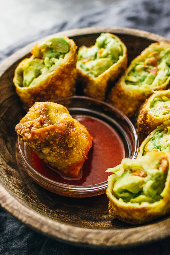 Avocado egg rolls with sweet chili sauce savory tooth fried avocado egg rolls dipped in sauce forumfinder Gallery