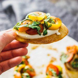 Favorite bruschetta with mozzarella